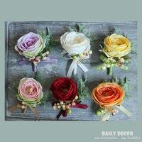4pcs Lot Artificial Rose Groom Boutonniere Brooch Women Wrist Corsage Bridal Hand Flowers Wedding Party Flower