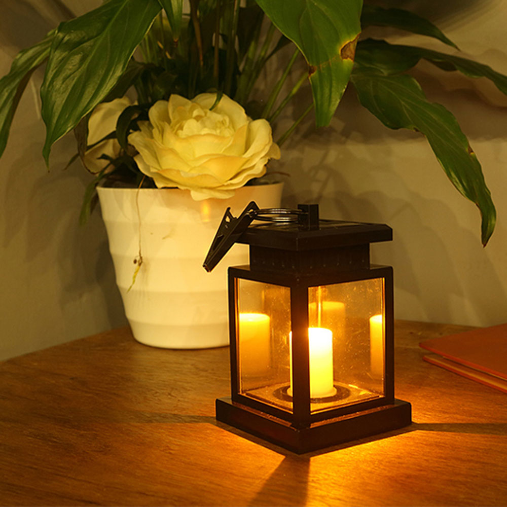 Solar patio lanterns - Waterproof Led Solar Garden Light Outdoor Flickering Flameless Candle Hanging Lantern Smokeless For Yard Lawn Patio Camping Tent