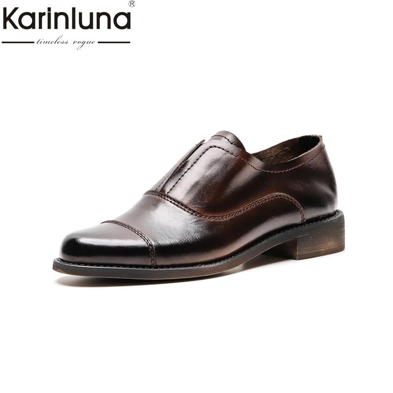 KarinLuna Genuine Leather Chic Style Fashion 2019 Brand New Mature women s Pumps Classics Elegant women