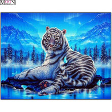 DIY 3D Diamond Painting Cross Blue Forest Tiger 5D Embroidery Square Drill Mosaic Decoration Animals Rhinestones