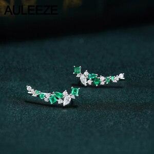 AULEEZE серьги-гвоздики с натуральным Изумрудом и бриллиантами Элегантные Изящные серьги из белого золота 18 К сережки с настоящим бриллиантом ...