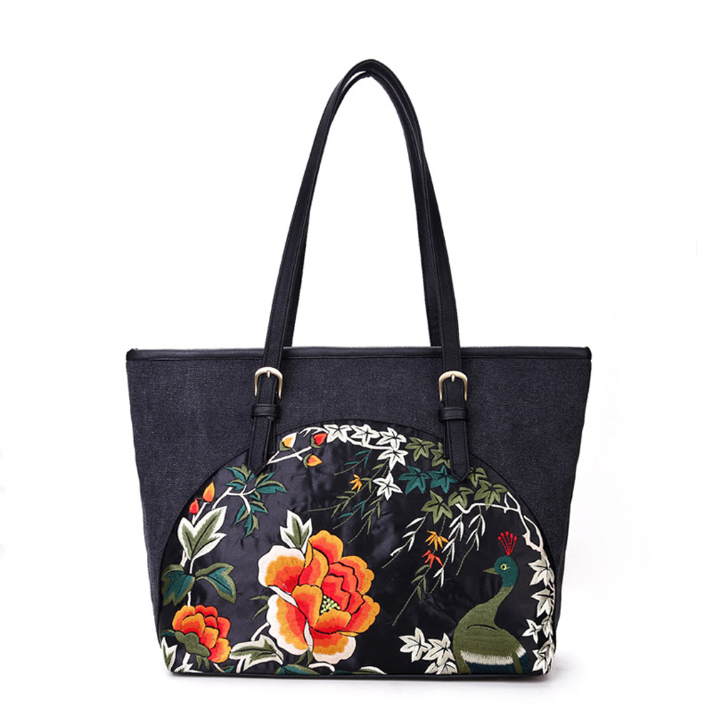 Classic Vintage Chinese National Style Embroidery PU Leather and Canvas Women Lady Black Shoulder Shopping Bag Mummy Bag Handbag 2016 summer national ethnic style embroidery bohemia design tassel beads lady s handbag meessenger bohemian shoulder bag
