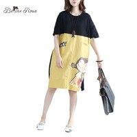 BelineRosa 2017 Casual Women Shirt Dress Summer Character Printing 2 Pockets T Shirt Dress Female TYW00435