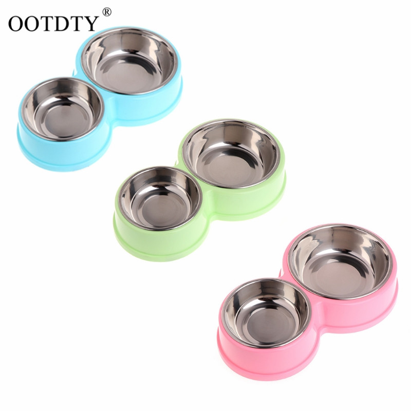 Pet Feeding Double Bowl With Stainless Steel Food Water Feeder For Dog Cat Puppy dog bowl