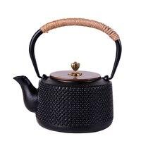 日本の南部黒鉄手作り鋳鉄ティーポットコーティングされていホーム醸造茶1.0l