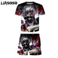 LIASOSO Summer New Fashion Sweatshirt Men Women 3D Print Anime Tokyo Ghoul Short sleeve T shirt Set Casual Sportswear A067 24