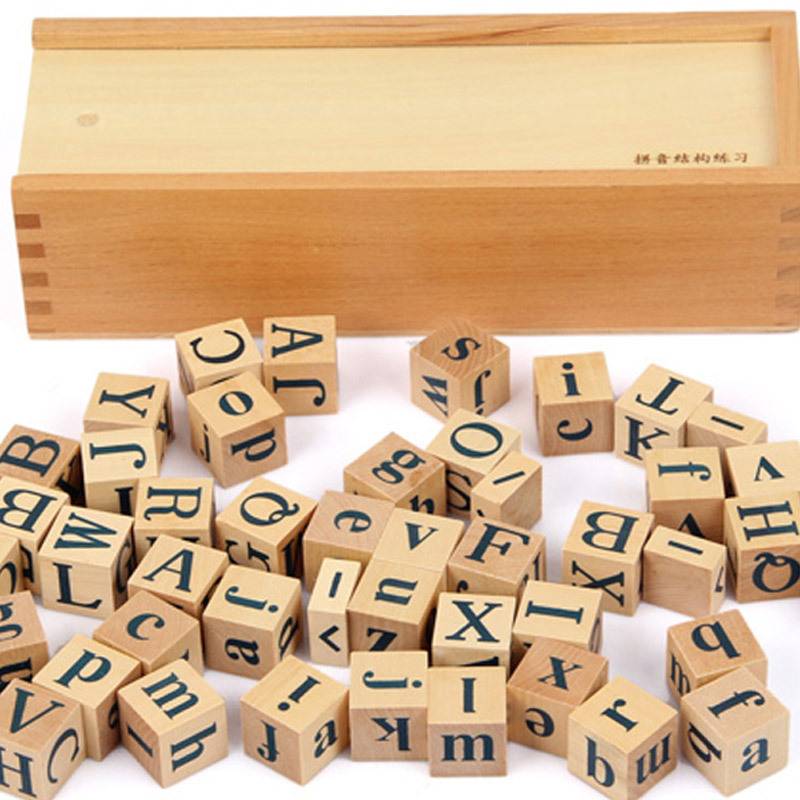 Baby Educational Toys Montessori Pinyin Structure Blocks 6SideBeech Wood Wooden Toys Child Early Learning Teaching Birthday Gift
