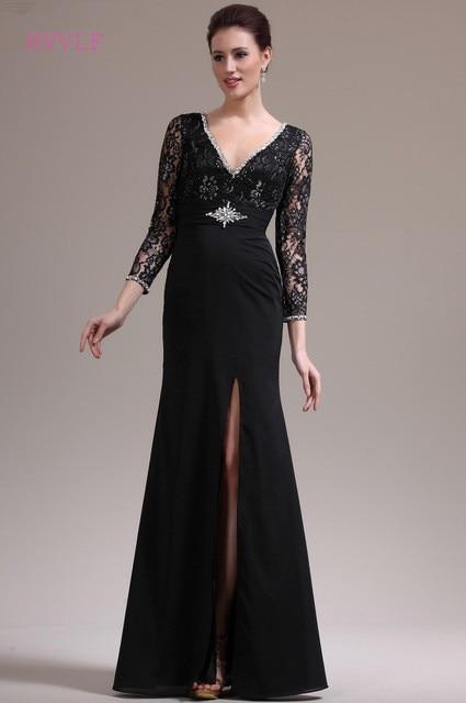 Black Evening Dresses 2018 Mermaid V-neck 3/4 Sleeves Chiffon Lace ...