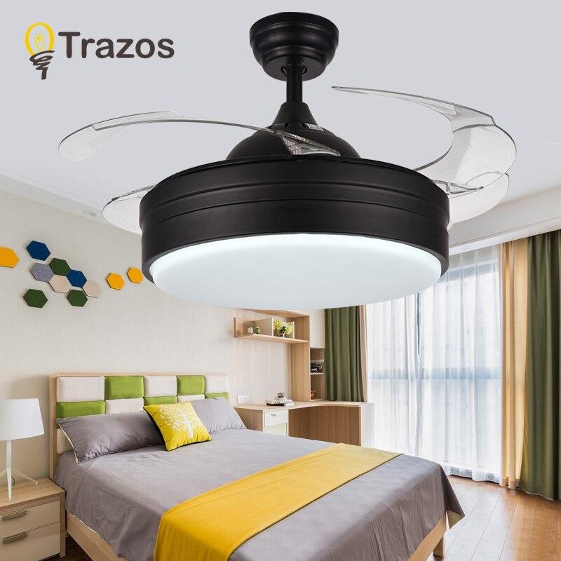 TRAZOS Modern LED Ceiling Fans With Lights Bedroom Home Black Ceiling Light Fan Lamp 220 Volt Fan Ceiling Ventilador De Teto цена