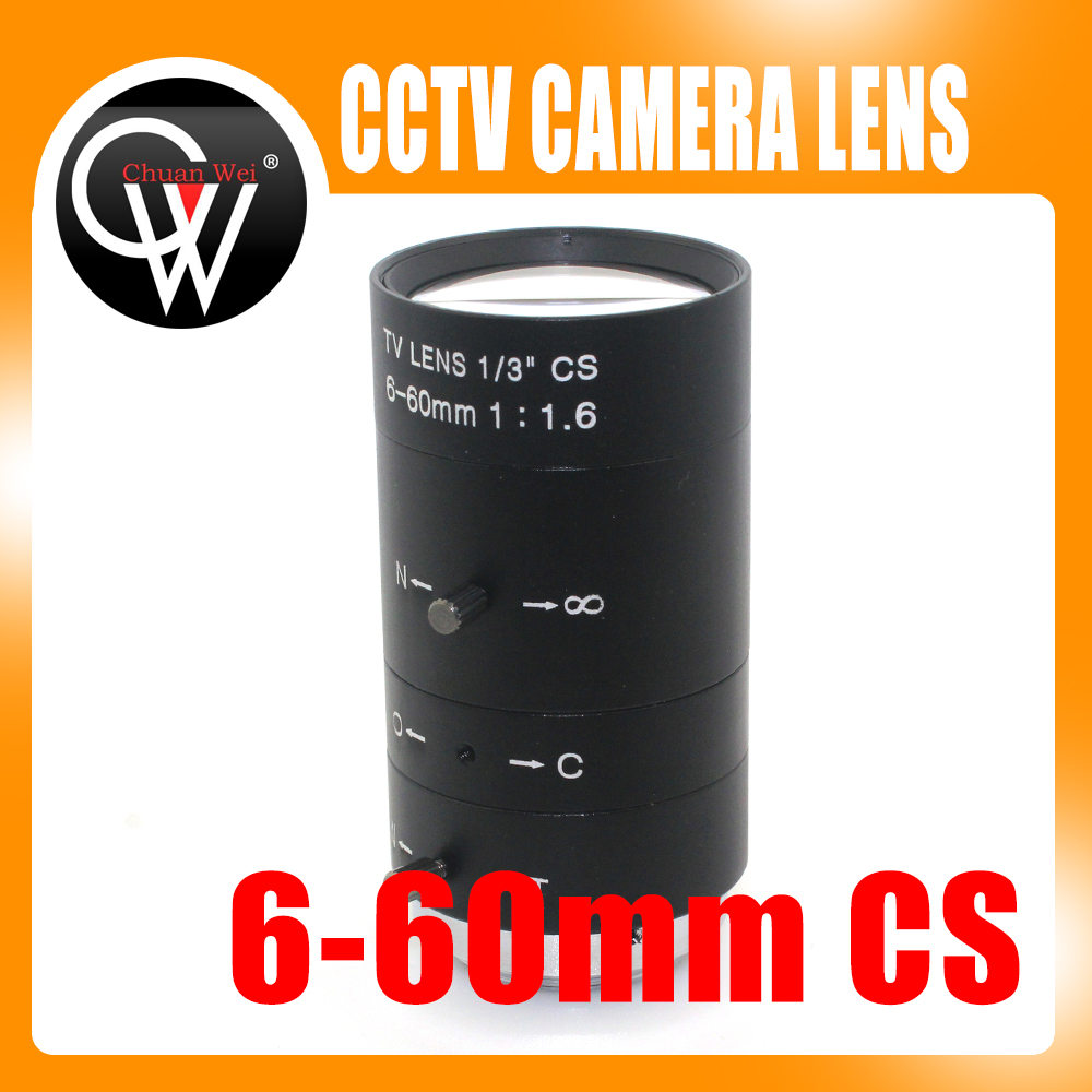 6-60mm 1/3 CS Lens CCTV Lens IR F1.6 Manual Zoom Manual Iris for IP CCTV CCD Camera free shipping 6 pcs 1 3 f1 6 cs fixed iris 16mm ir lens cctv camera professional lens