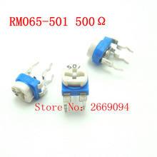 50 PCS 500 ohm 501 RM065-501 Trimpot Trimmer Potenciômetro RM065 RM-065 resistor variável frete grátis