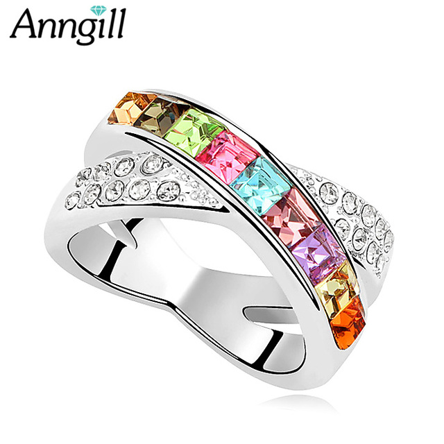 13a70d73d High Quality Genuine Crystal From Swarovski Rings For Women Wedding Bague  Femme Engagement Ring Trending Styles Anelli Donna