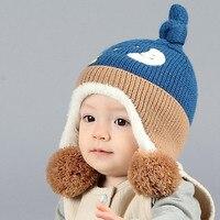 Cute Baby Winter Hat Warm Infant Cap Children Boy Girl Star Moon Pattern Kids Crochet Knitted