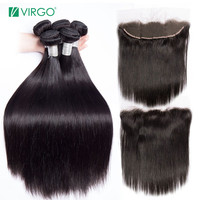 Malaysian Straight Hair Bundles with Closure 3 Bundles Human Hair Weave Remy Virgo Hair Lace Frontal Closure with Bundle