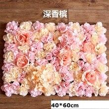 40x60cm Silk Rose Blume Wand Hochzeit Dekoration Hintergrund Champagner Künstliche Blume Blume Wand Romantische Hochzeit Decor