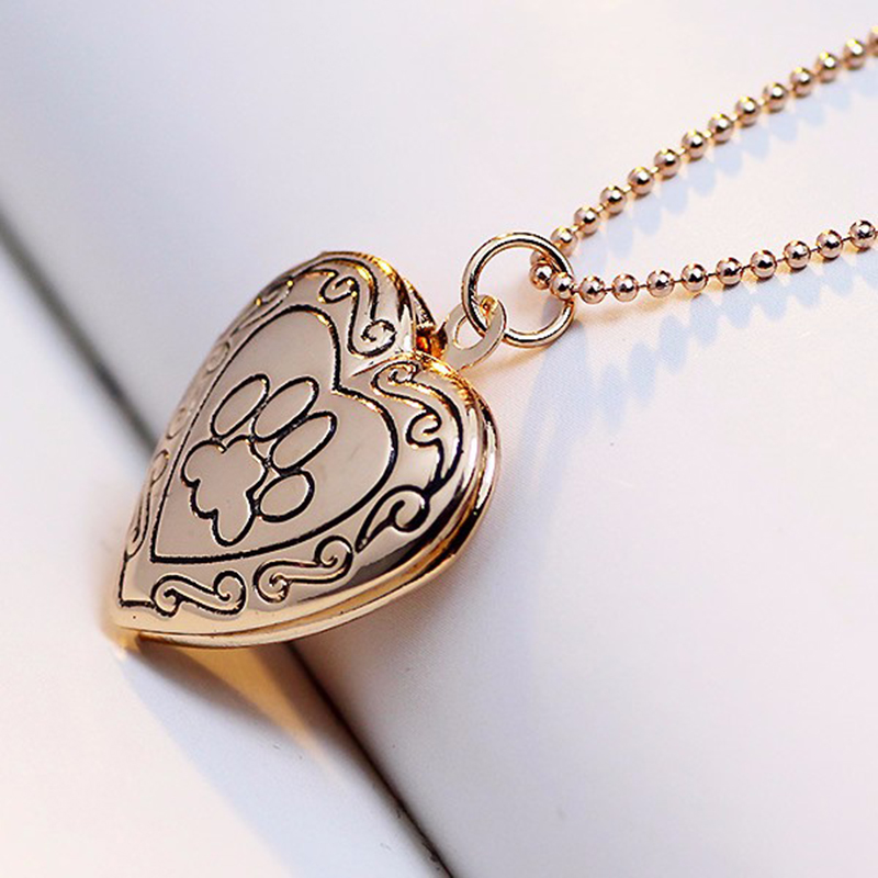Cat Memory Locket Necklace Silver/Gold Color Pendant