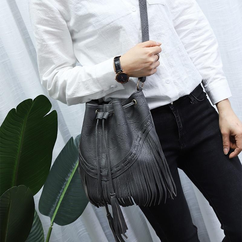 Fashion Ladies Hand Bag Solid Bucket Bolsa Feminina Tassel Leather Women Shoulder Bags Crossbody Bag For Women Luxury CJ484 3