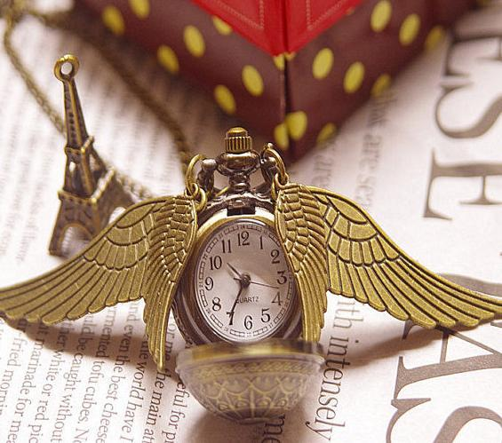 10 piece /lot Harry Potter Snitch Pocket Watch necklace pendant Four wings Steam punk quartz watches gift