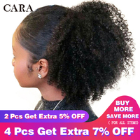Drawstring Ponytails Extensions Mongolian Afro Kinky Curly Hair 4B 4C Clip In Human Hair Extensions Ponytail Remy Hair CARA