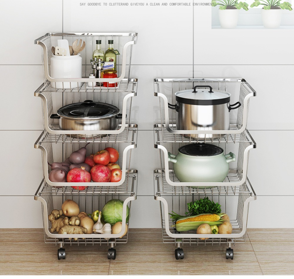 Image 2 - 304 Stainless Steel Vegetable Storage Rack with 3/4 Tier The Stackable Storage Baskets, with Wheels for Bathroom Kitchen-in Storage Holders & Racks from Home & Garden