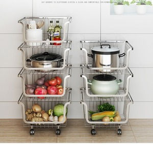 Image 2 - 304 Stainless Steel Vegetable Storage Rack with 3/4 Tier The Stackable Storage Baskets, with Wheels for Bathroom Kitchen