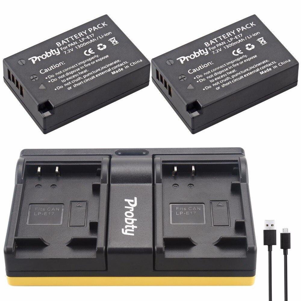 Probty LP-E17 LP E17 batería + USB cargador dual para Canon EOS M3 M5 M6 Rebel T6i T6s T7i 750D 760D 8000D 77D beso X8i Cámara