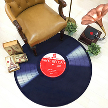 Home 3D personality record round rug living room study computer chair retro bedside anti-skid wear-resistant decorative carpet