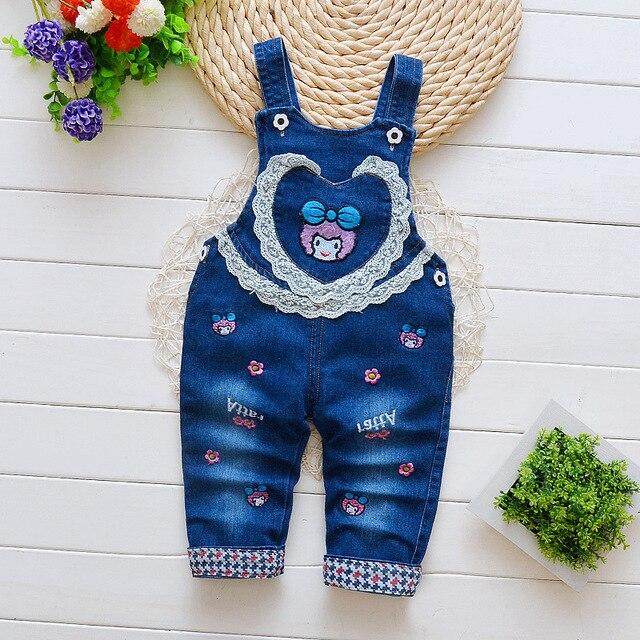 42459c8c137a BibiCola children baby casual denim suspender pants for girls cute cartoon  lace bebe jumpsuit autumn lace bib pants clothes