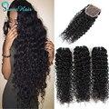 Cabelo brasileiro weave bundles kinky curly trama do cabelo com laço encerramento Brasileiro Virgem Do Cabelo 3 pacotes Com Fecho de cabelo inigualável