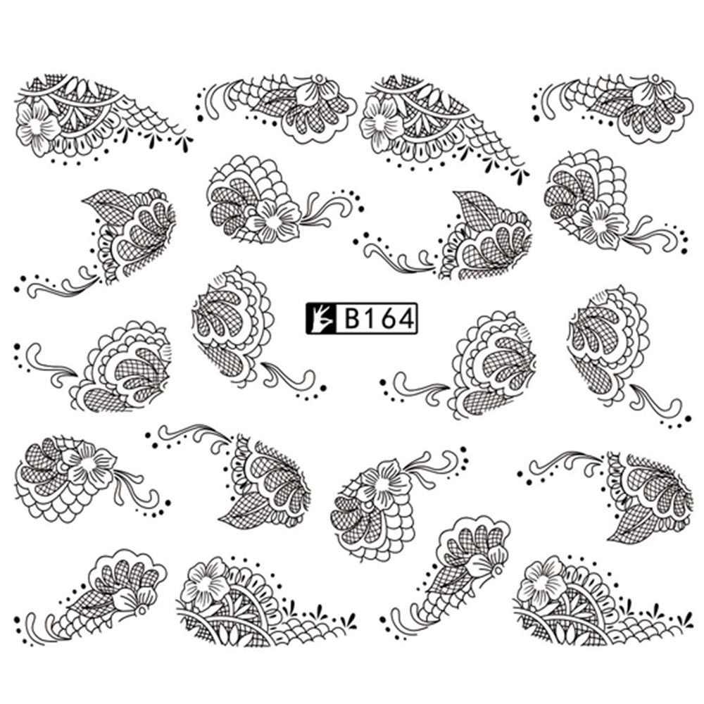 1 лист, черный/белый, сексуальный кружевной дизайн ногтей, переводные наклейки для ногтей, временная переводная наклейка для тату, водяные наклейки для ногтей, инструмент для декора BEB168