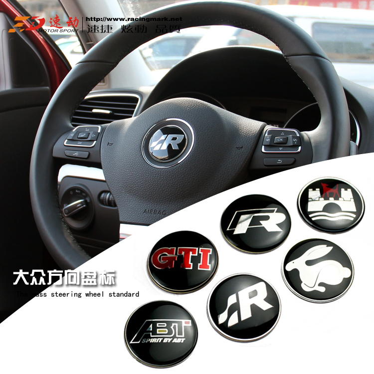 44mm vw car gti wolfsburg r r steering wheel badge. Black Bedroom Furniture Sets. Home Design Ideas