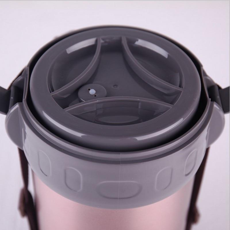 2L большой емкости открытый горячий термос 304 нержавеющая сталь Термоизолированный Ланч бокс с термос Bento Контейнер Пищевой - 5