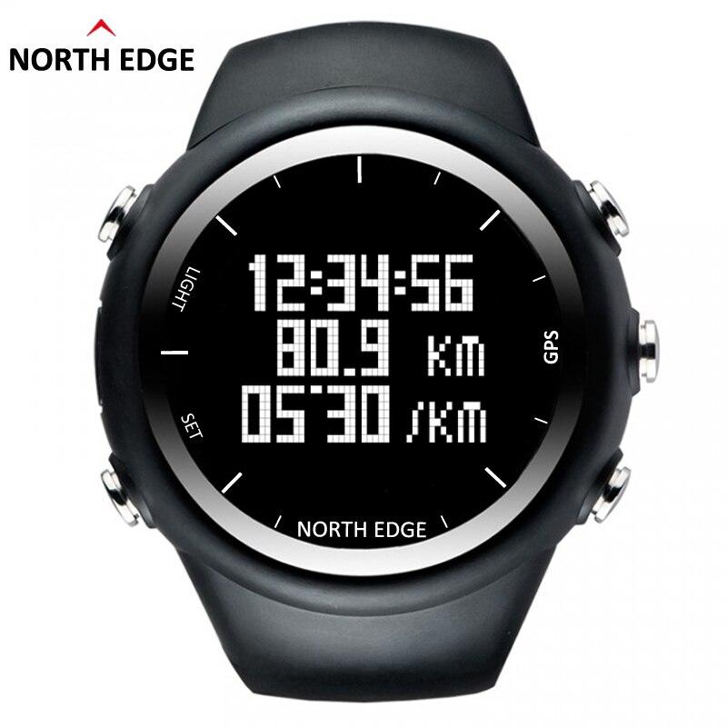 North Edge GPS Watch Men Digital Smart Pace Speed Calorie Wristwatch Running Jogging Triathlon Hiking Clock Waterproof 50m Hour smart baby watch q60s детские часы с gps голубые