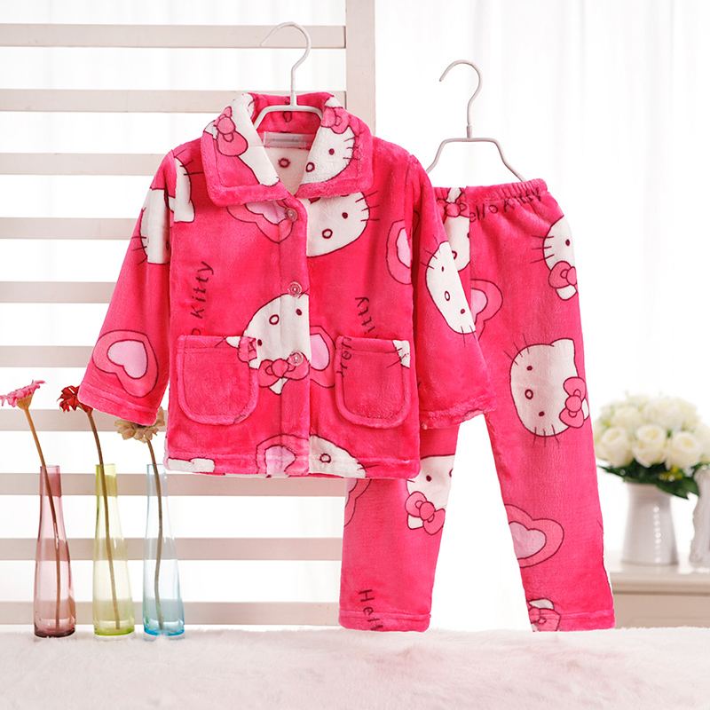Coral velvet Pajama Sets 2PC Coat Pants Sleepwear Robe Childrens Sets Boy autumn winter clothes Girl Coats Childrens Clothing
