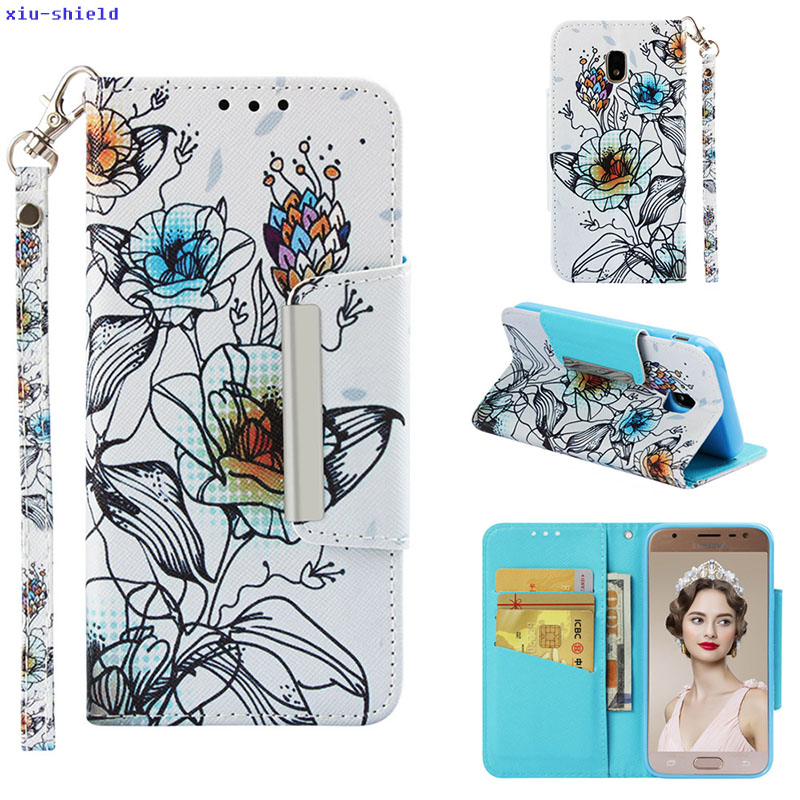for <font><b>Samsung</b></font> Galaxy J330f Case J3 2017 SM-<font><b>J330Fn</b></font> SM-J330G j330 SM-J330 SM-J330F/DS J3 Pro SM-J3300 Flip Phone Cover Leather Bag image