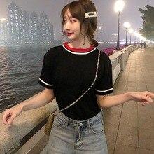 2019 Summer Fashion Patchwork Short Sleeve T-shirts Female Wild Korean T Shirt Casual O Neck Loose Tops Women Clothing цены
