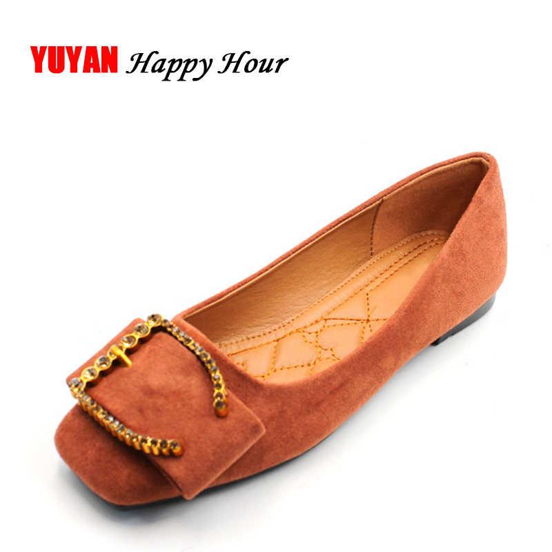 9a07b676e New 2019 Fashion Flats Shoes Women Square toe Flat Heel Fashion Brand  Footwear Women's Flats Ladies