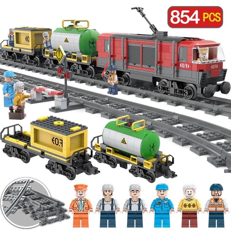 Nouveau 854 pièces créateur Intercity Train série blocs de construction Compatibe LegoINGLYS piste gare Architecture jouet pour enfants