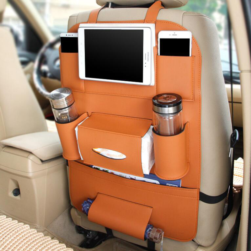 Luxury PU Leather Car Back Seat Organizer Pockets Hanging Bag Headrest Stand For Ipad iPhone Mobile Drink Bottle Tissue Umbrella