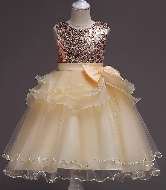 It's rongniuniu New Bling Sequined Flower Girls Dresses O-neck Princess Ball Grown Pleat Floor-Length Girl Dress