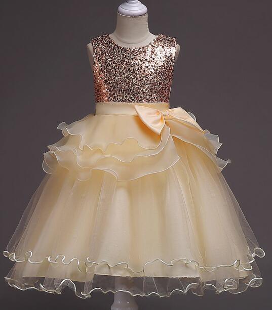 It's rongniuniu New Bling Sequined   Flower     Girls     Dresses   O-neck Princess Ball Grown Pleat Floor-Length   Girl     Dress