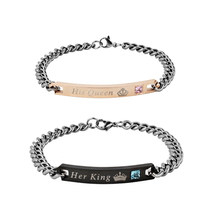 Her King & His Queen Couple Bracelet Stainless Steel Wrist Chain Adjustable Wristband Bracelet(China)