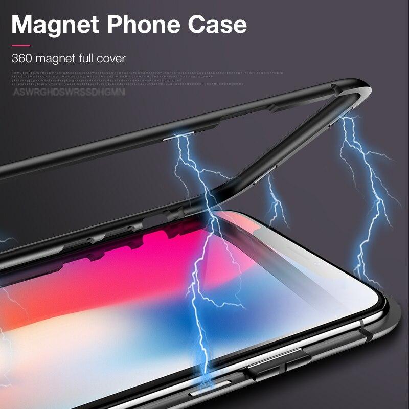Cafele Magnétique Adsorption Cas pour l'iphone X 8 7 Plus Ultra Mince En Métal Cadre En Verre Trempé avec Aimant Intégré Flip couverture