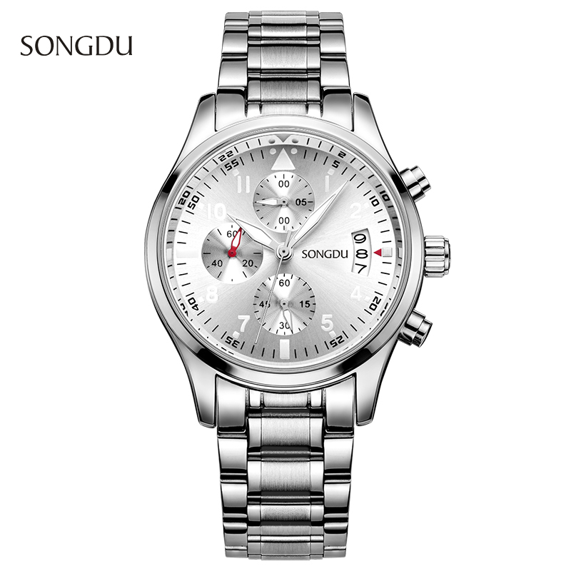 Men s Multi Function Chronograph Quartz Watch SONGDU Steel Bracelet Band Male Fashion Clock Waterproof Wrist