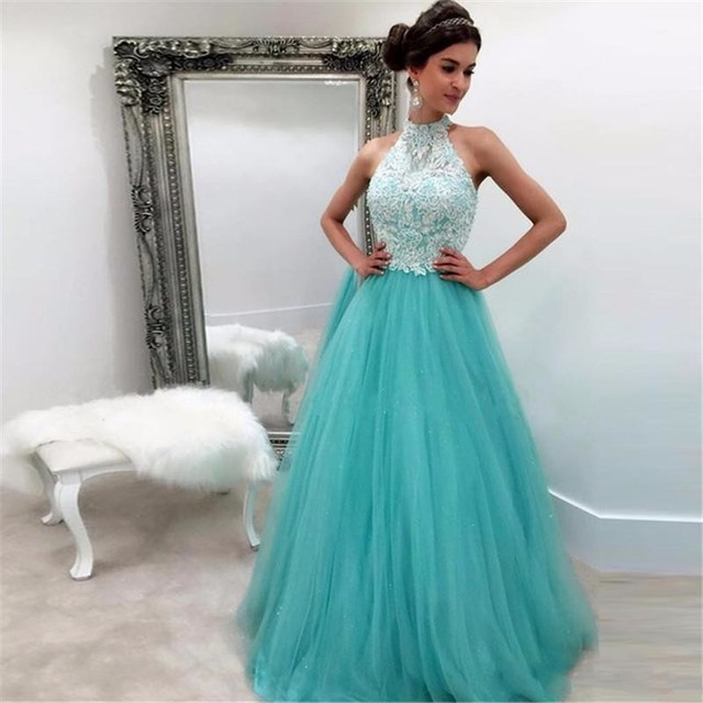 Stylish Mint Green Halter Prom Dresses Tank With White Lace Liques A Line Formal Dress For