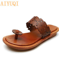AIYUQI Summer beach slippers women 2019 new women slippers flip flop genuine leather footwear shoes women sandals flat casual