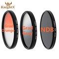 KnightX Grad Orange Grey ND8 lens color filter for Sony Canon Nikon D7100 D5300 D5200 D3300 D3200 49mm 52mm 55mm 58mm 62mm 67mm