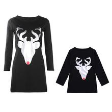 Family Matching Dress Mom Daughter Casual Dresses Long Sleeve Christmas Deer Print Fashion Mother Baby Clothes