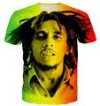 Новый Стиль Reggae Звезда Боба Марли Печать футболки Мужчины Женщины Хип-хоп Рок Майки Топы футболки Мужской Женский Hipster 3D т рубашка