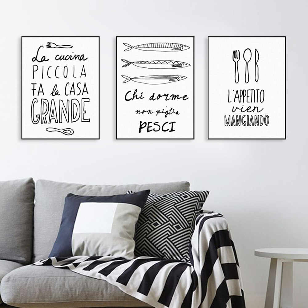 Piccola Cucina Group Nordic Fish Food Quotes Posters Prints Wall Art Picture Minimalist Black And White Kitchen Restaurant Home Decor Canvas Painting